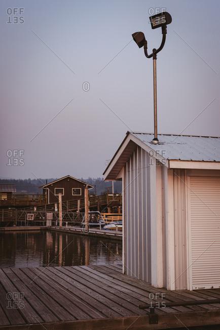 Wooden cabin at dusk