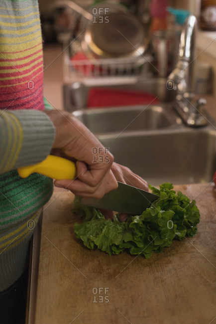 Man cutting leafy vegetable on chopping board in kitchen