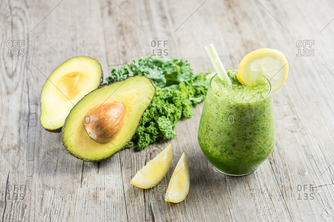 Avocado and smoothie in composition