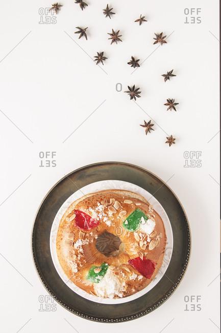 Dessert for Christmas in white background