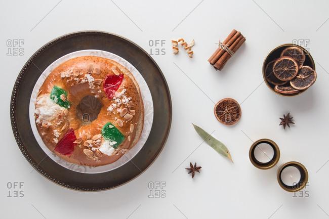 Christmas dessert in white background