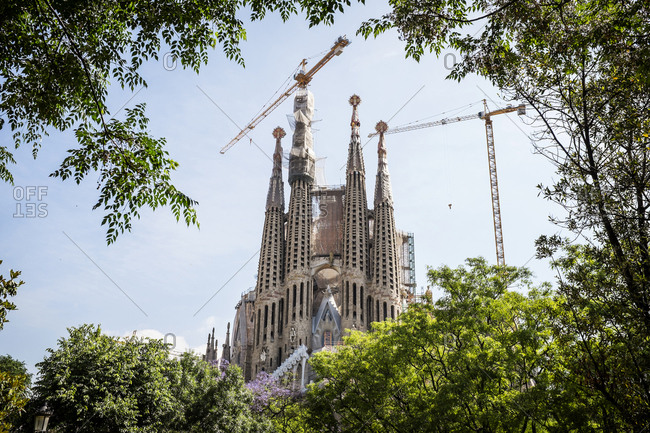 Barcelona, Spain - May 26, 2015: The Sagrada Familia is a large Roman Catholic church in Barcelona, designed by Catalan architect Antoni Gaudi