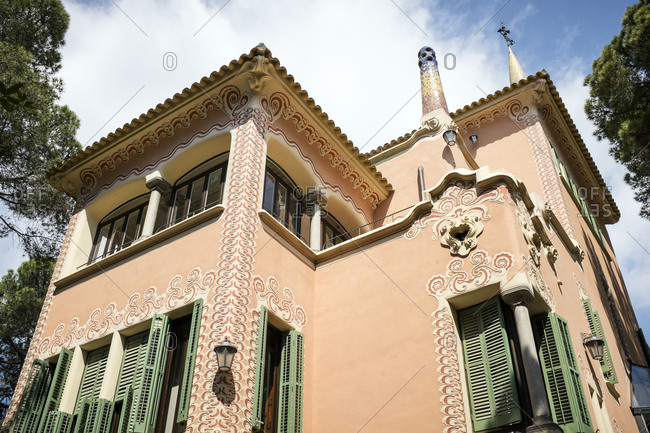 Barcelona, Spain - May 27, 2015: The former residence of Antoni Gaudi, now Casa Museu Gaudi (Gaudi Museum) at Parc Guell in Barcelona