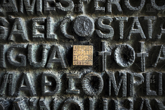 Barcelona, Spain - May 26, 2015: The Sagrada Familia is a large Roman Catholic church in Barcelona, designed by Catalan architect Antoni Gaudi. Here religious typography on the metal doors