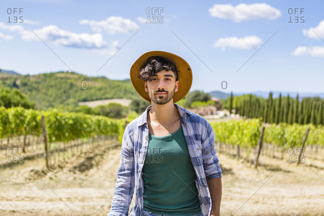Portrait of man in vineyard