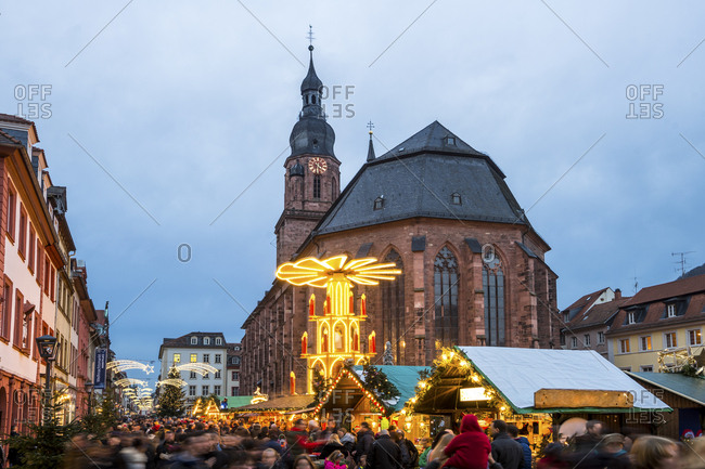 November 2, 2017: Germany- Heidelberg- Christmas market at Church of the Holy Spirit