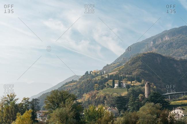 Buildings on the hillside in Bolzano, Italy