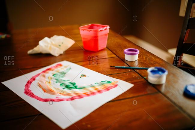 A child's rainbow painting