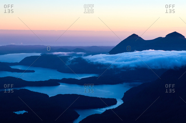 Sunrise over cloudy mountains on Vancouver Island, British Columbia, Canada