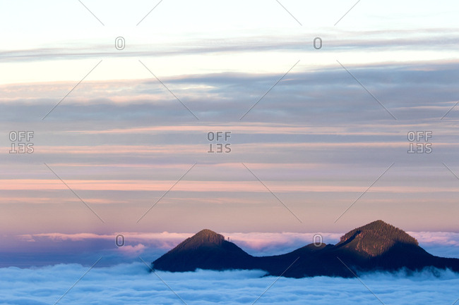 Low lying clouds and mountain peaks on Vancouver Island, British Columbia, Canada