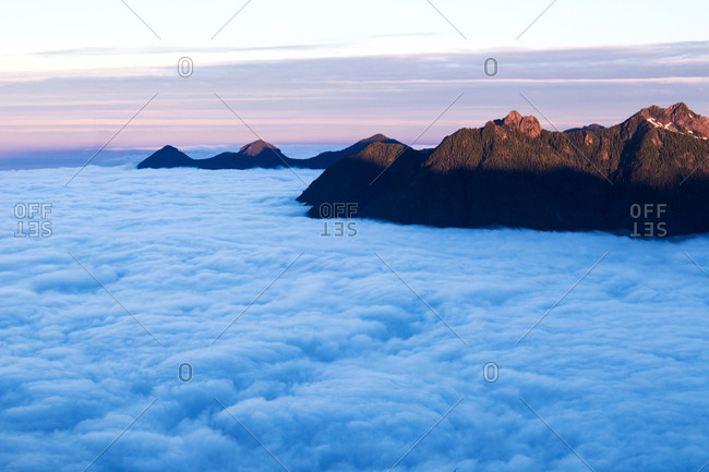 Low lying clouds cover mountains on Vancouver Island, British Columbia, Canada