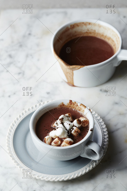 Freshly poured hot cocoa with marshmallows