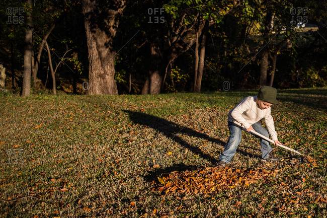 Boy raking leaves in autumn