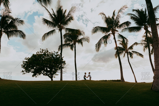 Two boys holding hands under palm trees