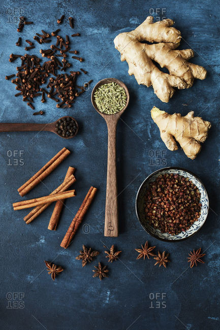 Variety of spices on a blue background