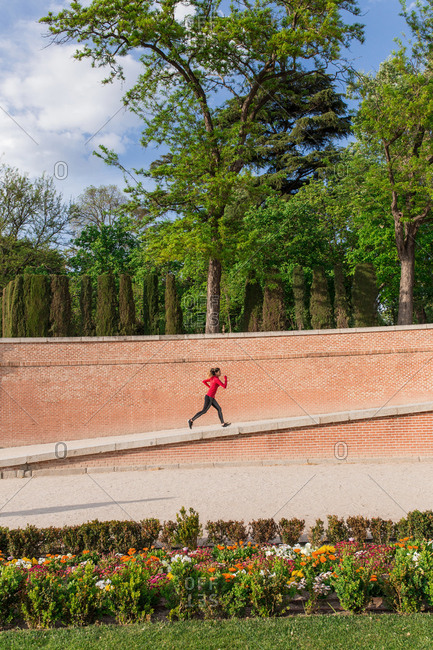 Girl jogging on a park