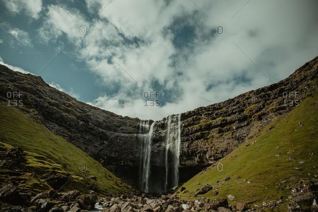 Beautiful landscape of waterfall in rocks