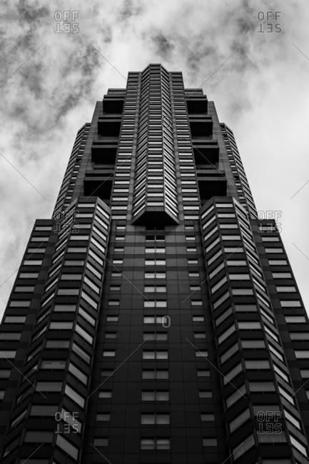 """March 10, 2016: Central Park Place is a 56-story condominium building in New York City. The building was completed in 1988, and is located at 301 West 57th Street."""" It is one of the one hundred tallest buildings in New York City, standing at 628 feet tall."""