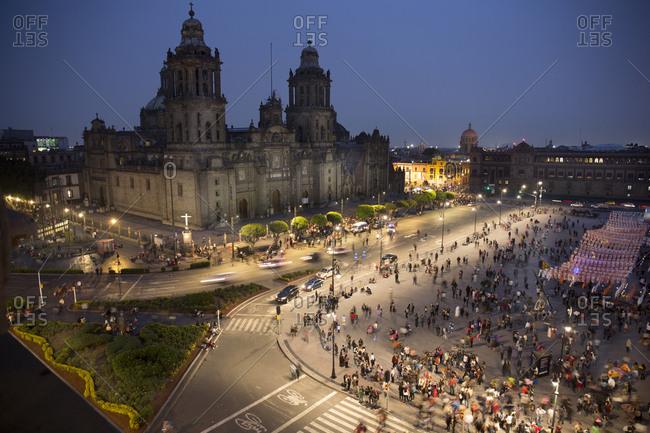 Mexico City, Mexico - November 1, 2017: Zocalo square with Cathedral