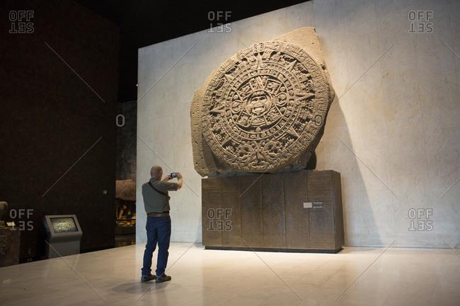 Mexico City, Mexico - November 1, 2017: National Museum of Anthropology, Aztec Sun Stone