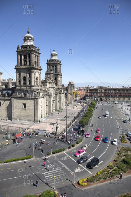 Mexico City, Mexico - November 3, 2017: Zocalo square and Cathedral