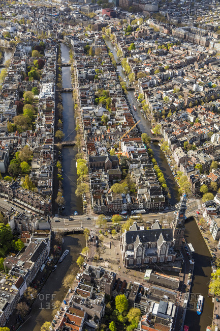 May 3, 2016: Aerial view of the Old City Centre Amsterdam, Netherlands