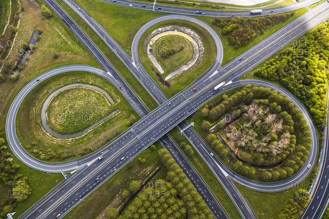 May 3, 2016: Aerial view of road junctions, nr Amsterdam, The Netherlands