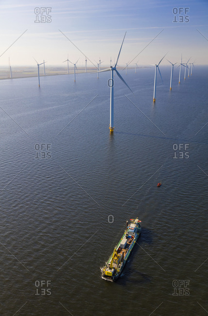 May 4, 2016: Aerial view of wind turbines at sea, North Holland, Netherlands