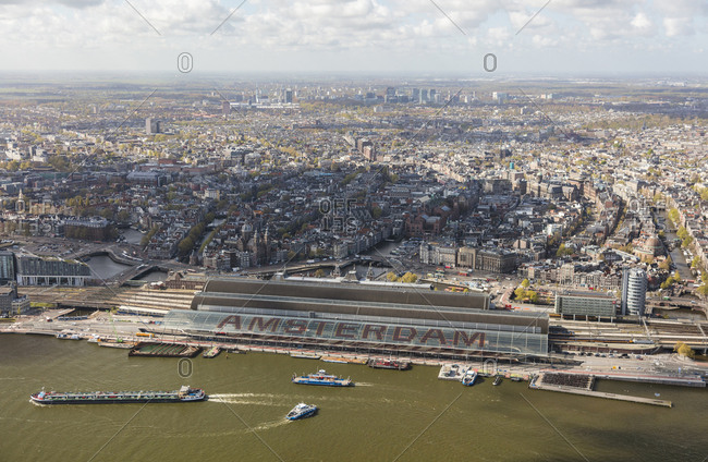 May 3, 2016: Aerial view of Amsterdam with Amsterdam Central Railway station, Netherlands