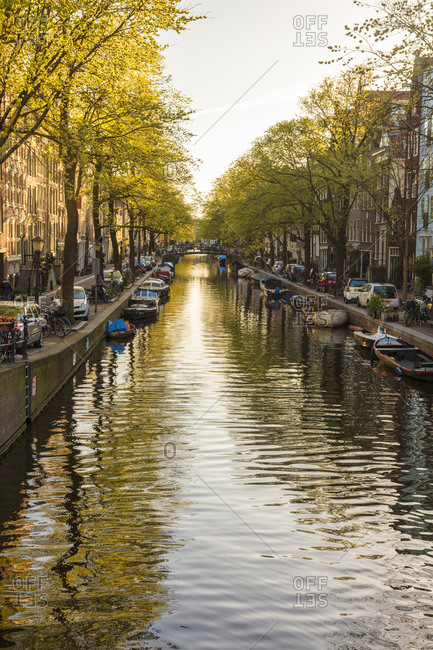 May 3, 2016: Canal, central Amsterdam, The Netherlands