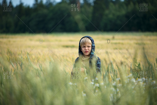 Portrait of blond-haired boy in hooded shirt standing in field against forest and looking into camera