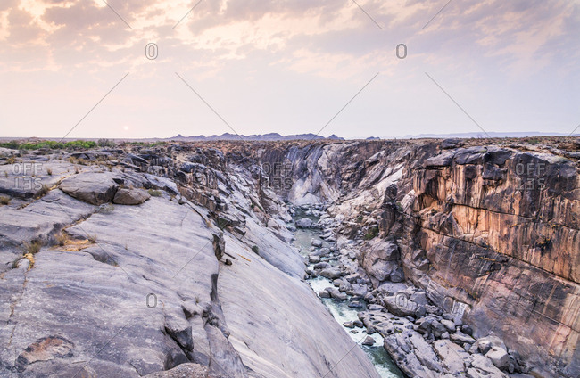 A color landscape image of Augrabies Falls in the dry season located in the Northern Cape of South Africa.