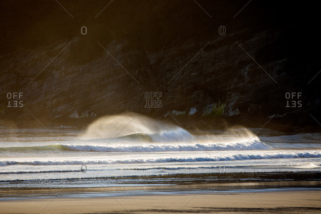 Rolling waves coming into seashore