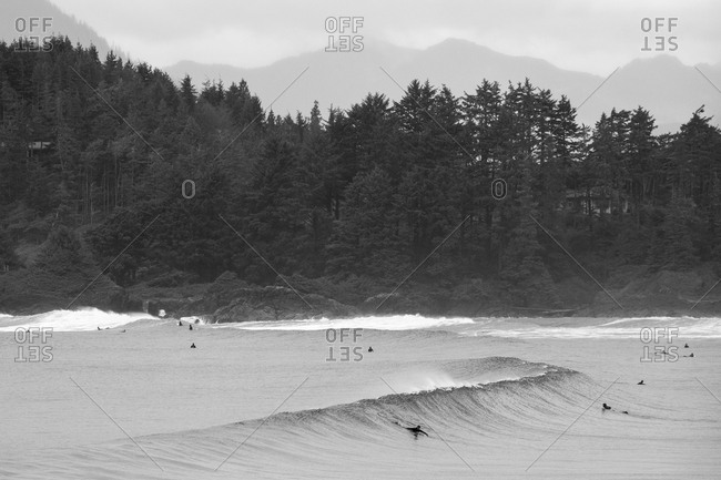 Several surfers in the water in black and white