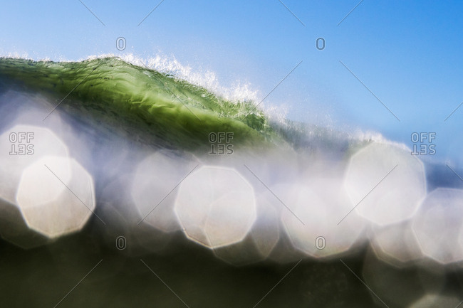 Low angle view of a curling swell