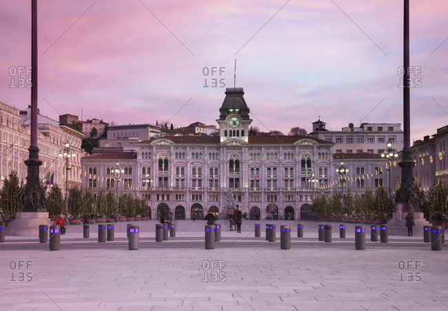 Trieste, Italy - November 30, 2016: Unity of Italy Square or Piazza Unita d'Italia with the Town Hall on background at Christmas time