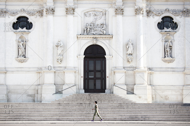 Vicenza, Italy - March 25, 2017: Facade of the Sanctuary of Monte Berico
