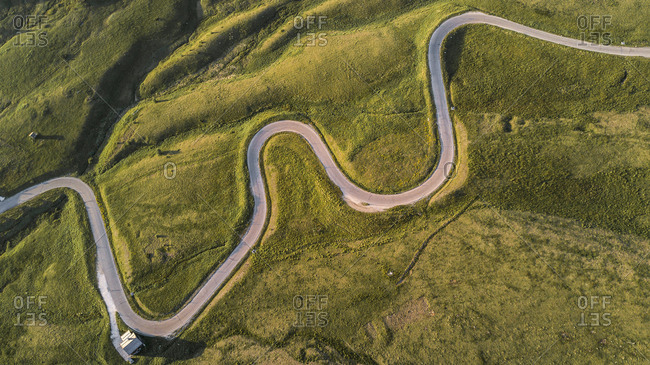 Aerial view of Giau Pass, Cortina D'Ampezzo, Dolomites, Italy