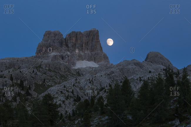 The Averau Mount by night from the Falzarego Pass, Cortina D'Ampezzo,  Dolomites, Italy