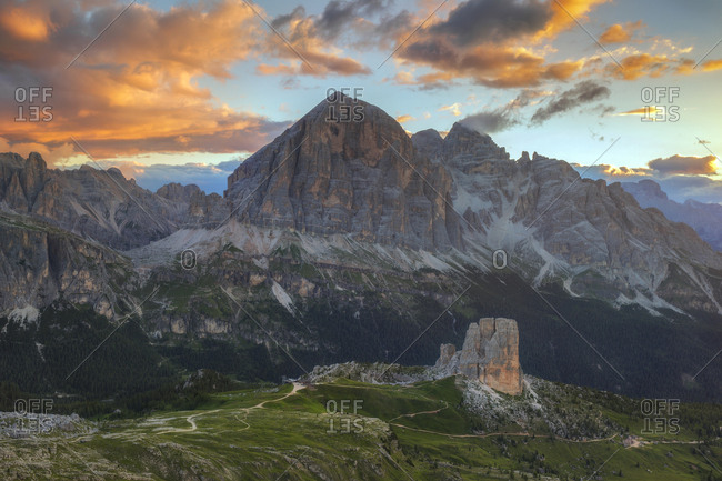 Panoramic view from the Nuvolau refuge overlooking the Cinque Torri and Tofane Mount, Dolomites, Cortina D'Ampezzo, Italy