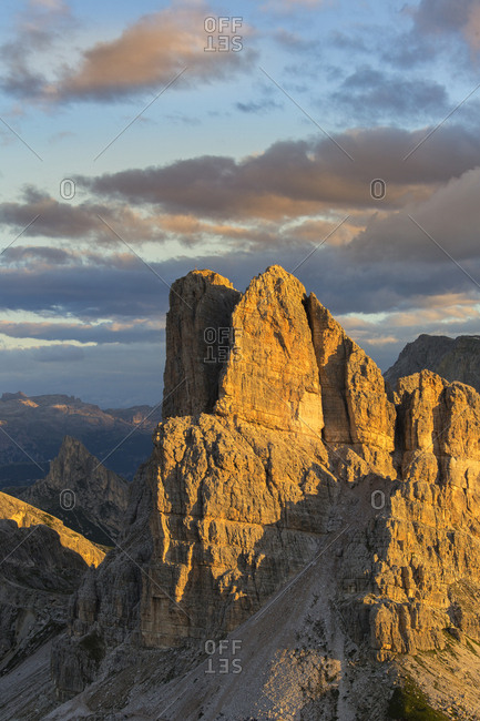 Mount Averau from the Nuvolau refuge illuminated by early dawn lights, Dolomites, Cortina D'Ampezzo, Italy