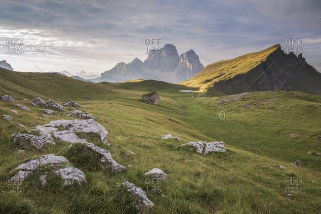 Pelmo Mount, Baste lake and the meadows of Mondeval during a summer morning, Dolomites, Alto Agordino, Italy