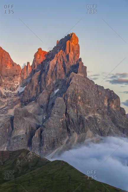 The Cimon della Pala photographed from the top of the path of Cristo Pensante, Dolomites, San Martino di Castrozza, Italy