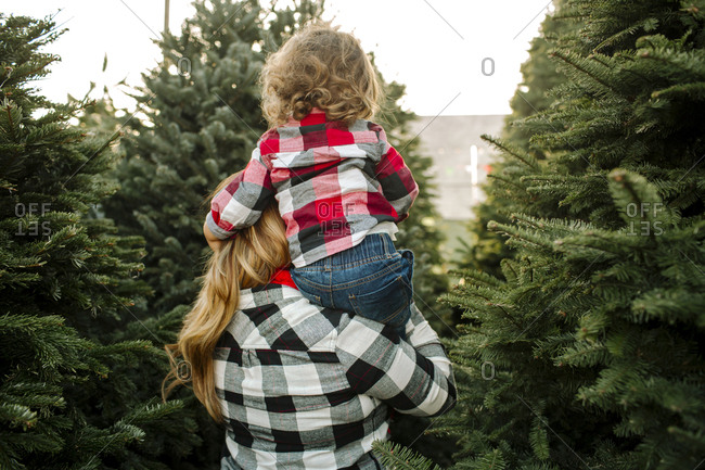 Rear view of mother carrying son on shoulder amidst Christmas Trees