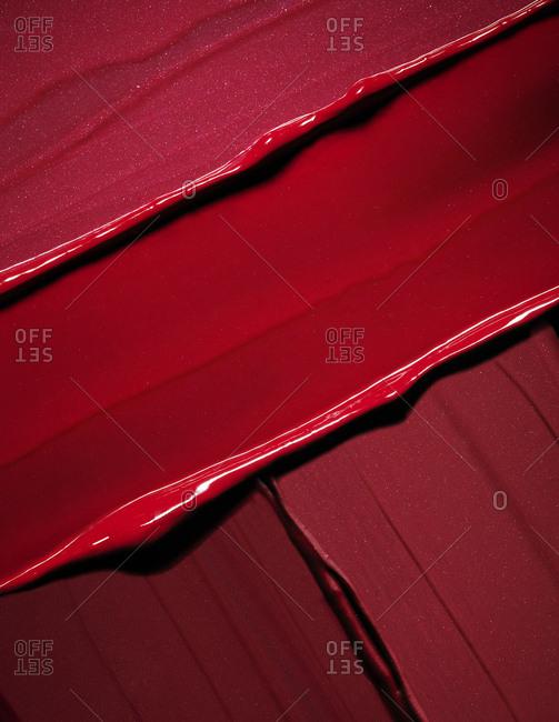 Smeared red lipstick