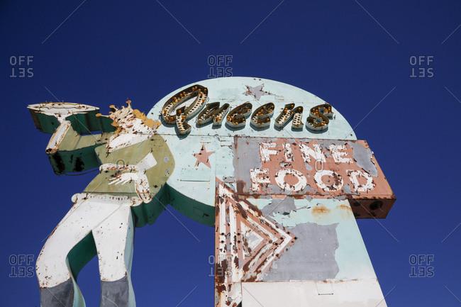 San Bernardino, California, USA - October 17, 2017: Weathered vintage sign advertising a restaurant