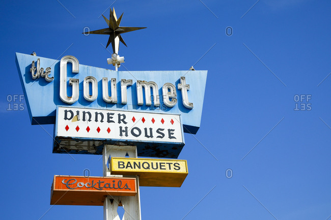 San Bernardino, California, USA - October 17, 2017: Vintage sign advertising a restaurant
