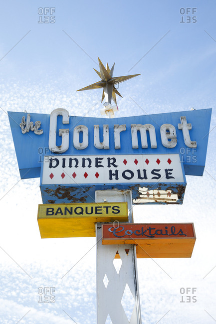 San Bernardino, California, USA - October 17, 2017: Weathered vintage restaurant sign