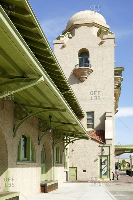 Exterior of vintage train station in Southern California