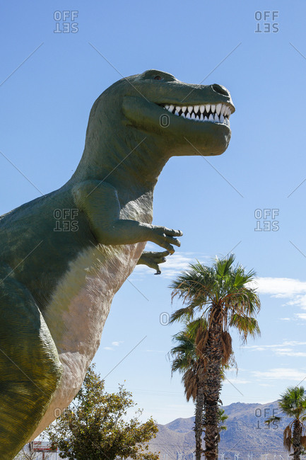 Cabazon, California, USA - October 18, 2017:  Mr. Rex, a steel-and-concrete Tyrannosaurus rex sculpture as a  roadside attraction